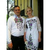 Фіолетові троянди - сімейний комплект заготовок під вишивку