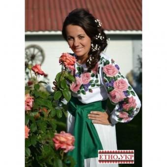 """""""Троянди з фіалками"""" заготовка плаття під вишивку"""