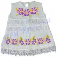 Фіолетові квіточки зшита заготовка дитячого плаття на хрещення