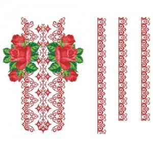 """""""Червоні троянди та орнамент"""" заготовка чоловічої сорочки"""